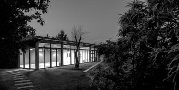 Night view yoga studio