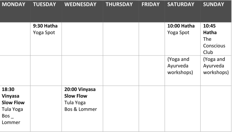 General schedule Alma Yoga